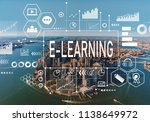 e learning with aerial view of... | Shutterstock . vector #1138649972