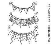 holiday attributes   garlands ... | Shutterstock .eps vector #1138654772