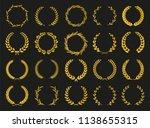 golden vector laurel wreaths on ... | Shutterstock .eps vector #1138655315
