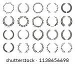 vector laurel wreaths on black... | Shutterstock .eps vector #1138656698