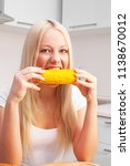 beautiful young blond woman... | Shutterstock . vector #1138670012