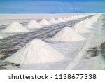 piles of the drying salt on the ... | Shutterstock . vector #1138677338