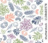 fresh basil  mozarella  tomato  ... | Shutterstock .eps vector #1138683578
