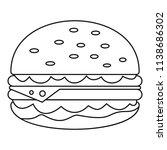 unhealthy burger icon. outline... | Shutterstock .eps vector #1138686302