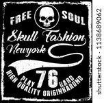 photo print skull t shirt... | Shutterstock . vector #1138689062