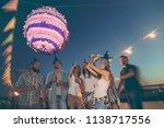 birthday girl hitting the... | Shutterstock . vector #1138717556