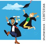 couple of college graduates... | Shutterstock .eps vector #1138723166