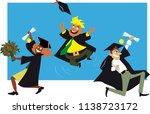 three college graduates in... | Shutterstock .eps vector #1138723172