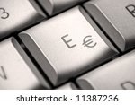 € / E key on a german laptop - stock photo