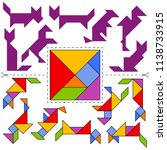 vector tangram puzzle animals... | Shutterstock .eps vector #1138733915