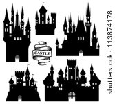 vector set of castle silhouette | Shutterstock .eps vector #113874178