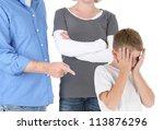 parents discipline a young boy...   Shutterstock . vector #113876296