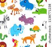 cute animal in jungle pattern....   Shutterstock .eps vector #1138771238