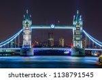 london at night  tower bridge... | Shutterstock . vector #1138791545
