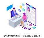 isometric woman during job... | Shutterstock . vector #1138791875