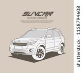 suv car in ouline drawing... | Shutterstock .eps vector #1138794608