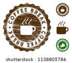 coffee break medallion stamp.... | Shutterstock .eps vector #1138805786