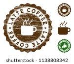 latte coffee medallion stamp.... | Shutterstock .eps vector #1138808342