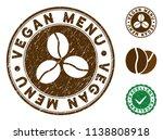 vegan menu brown stamp. vector... | Shutterstock .eps vector #1138808918