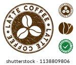 latte coffee brown stamp.... | Shutterstock .eps vector #1138809806