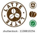 latte brown stamp. vector seal... | Shutterstock .eps vector #1138810256