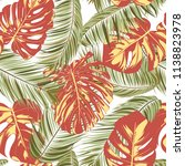 summer exotic floral tropical... | Shutterstock .eps vector #1138823978