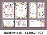 floral wedding invitation with... | Shutterstock .eps vector #1138824905