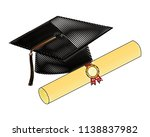parchment diploma and hat... | Shutterstock .eps vector #1138837982