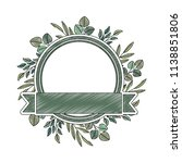 frame with leafs and ribbon... | Shutterstock .eps vector #1138851806