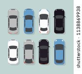 cars top view vector flat city... | Shutterstock .eps vector #1138869938