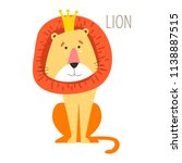 lion king in crown with mane...   Shutterstock .eps vector #1138887515