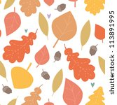 autumn wood seamless pattern | Shutterstock .eps vector #113891995