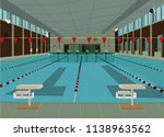 olympic size swimming pool... | Shutterstock .eps vector #1138963562