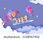 back to school 1 september card.... | Shutterstock .eps vector #1138967402