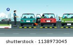 an accident from the driver... | Shutterstock .eps vector #1138973045
