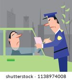policeman issuing ticket fine... | Shutterstock .eps vector #1138974008