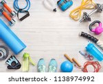 sports equipment on a white... | Shutterstock . vector #1138974992