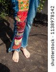 barefoot young woman in boho... | Shutterstock . vector #1138978142