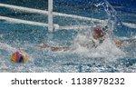 goalkeeper tries to reach the... | Shutterstock . vector #1138978232