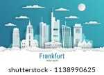 paper cut style frankfurt city  ...