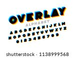 colorful overlay font  alphabet ... | Shutterstock .eps vector #1138999568