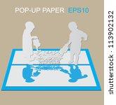 pop up paper two boys watering... | Shutterstock .eps vector #113902132