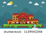 china town in island landscape. ...   Shutterstock .eps vector #1139042348