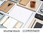retro styled office desk items... | Shutterstock . vector #1139055605