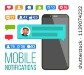 chat notification. mobile phone ... | Shutterstock . vector #1139074232