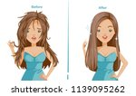 straightening hair of woman.... | Shutterstock .eps vector #1139095262