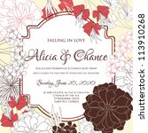 wedding card or invitation with ... | Shutterstock .eps vector #113910268