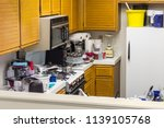 messy old kitchen with oak... | Shutterstock . vector #1139105768