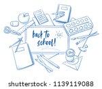 set of school objects arranged... | Shutterstock .eps vector #1139119088