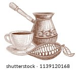 cocoa set. a cup of cocoa or... | Shutterstock .eps vector #1139120168